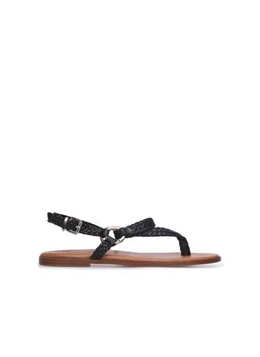 Divarese Divarese 5024424 Örgülü Kadın Deri Sandalet Siyah